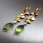 Petals-Green Gold Quartz-Garnet-Gold Plated Leverback Earrings