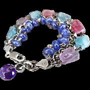 Indicolite- Pink Lilac Tourmaline Crystals-Tanzanite-3 Strand Oxidized Sterling Silver Bracele