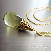 SOLD 36ct Lemon Gold Quartz Pendant-24k Bali Gold Vermeil Necklace