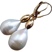 SOLD Rare-18mm Drop Shape Fresh Water Pearls-14k Solid Yellow Gold Dangle Earrings
