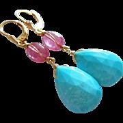 Afghan Pink Tourmaline-Sleeping Beauty Turquoise-14k Solid Gold Leverback Dangle Earrings