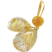 SOLD Spun Gold-Rare 28ct Golden Rutilated Quartz-18k Solid Gold Dangle Earrings - Red Tag Sale