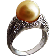 SALE Vintage 11mm Golden South Seas Sea Pearl-Diamond-14k White Gold Cocktail Ring
