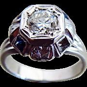 SALE Vintage Art Deco Diamond  Early Transitional Old European Cut Diamond-Blue Spinel 14k Whi
