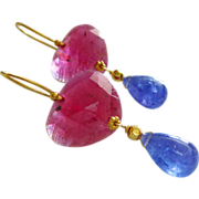 SALE Natural Transparent Ruby-Natural Tanzanite-18k Solid Gold One of a Kind Earrings