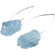 In The Rough-Natural Blue Topaz Hammered Nuggets-Sterling Silver Contemporary Earrings