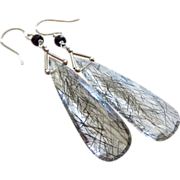 Best Tourmalated Quartz-Black Rutile-Black Spinel-14k Solid White Gold Dangle Earrings