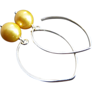 11mm Natural Golden Fresh Water Pearls-Contemporary Sterling Silver-Gold Fill Hoop Dangle ...