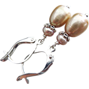 SOLD Champagne Rose Fresh Water Pearls-Sterling Silver Dangle Earrings