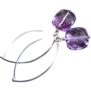 Natural Unheated Amethyst Cushion-Sterling Silver Contemporary Earrings