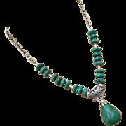 SALE 172ct Genuine Natural Emerald-May Birthstone-Bali Handmade Silver Pendant Necklace