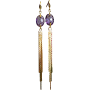 SOLD Purple Amethyst- Tendril Long Cascading Gold Fill Dangle Earrings