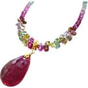 18K Gold-12.39ct Pink Tourmaline-Indicolite Multi Tourmaline-Solid Gold Pendant Necklace