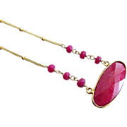 Ruby Pendant-Gold Fill Necklace