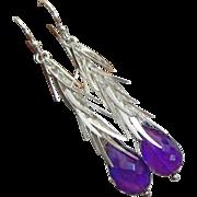 Purple Amethyst-Sterling Silver Tendril Cascade Dangle Earrings