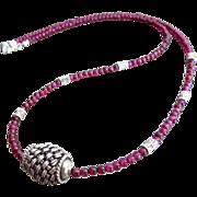 SOLD Rhodolite Garnet-Bali Handmade Silver Pendant-Karen Hill Tribe Sterling Silver Unisex Nec