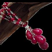 SALE Genuine Ruby Briolette Cluster July Birthstone Pendant-Sterling Silver Necklace