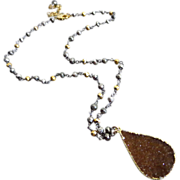 SOLD Untreated Caramel Druzy Drusy-Multi Hue Pyrite aka Fool's Gold-18k Gold Vermeil Adjustabl