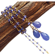 SALE Natural Tanzanite Trio Briolette-18k Gold Vermeil Pendant Necklace