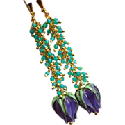 SOLD Green Onyx-Artisan Lampwork Blossoms-Gold Vermeil Leverback Cascade Earrings