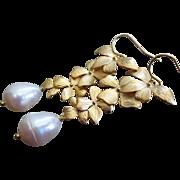 Petals-Genuine 15mm Teardrop FW Pearls-Gold Plated Blossom Dangle Leverback Bridal-Bridesmaid