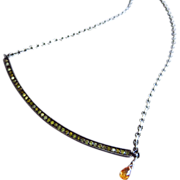 Yellow Natural Pave Diamond Pendant-Orange Sapphire-Oxidized Sterling Silver Pendant Necklace