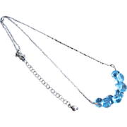 Blue Topaz Cluster-Kisses-Onion Briolettes-Sterling Silver Rhodium Necklace-December Birthston