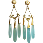 Red Carpet-Aqua Chalcedony Bold Chandelier-14k Gold Fill 18k Gold Vermeil Chandelier Earrings