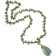 Large Prehnite-Peridot Fringe-August Birthstone-Pendant CZ Charm Gold Fill Necklace
