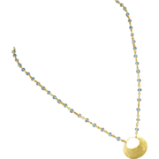 SALE Sky Blue Topaz-18k Gold Vermeil Hoop Pendant Necklace