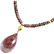 Rare-Strawberry Quartz-Andalusite-Lepidocrocite in Quartz-18k 22k Solid Gold Necklace