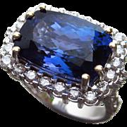 SALE 9ct GIA Certified Tanzanite-Diamond-14k White Gold-Women's Cocktail Ring-US Size 8