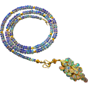 3in1 70ct Best Ethiopian Welo Opal-October Birthstone-18k Solid Gold-Briolette Cascade 3 Way P