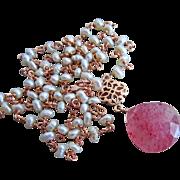 SOLD Genuine Strawberry Quartz-Petite Fresh Water Pearl-Rose Gold Plate-Pendant Necklace