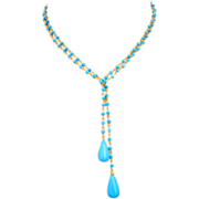 """3 Way 36"""" Tibetan Turquoise-Gold Fill Beaded Briolette Lariat Necklace"""