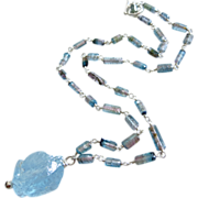 Raw-Indicolite Bi Color Tourmaline Crystals-Blue Topaz Nugget Pendant-Sterling Silver Unisex N