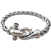 Vintage 14k White Gold-Natural Blue Sapphire- Italy Wheat Rope Bracelet-September Birthstone B
