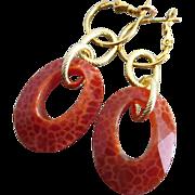 SOLD Crab Fire Agate-Dragon Vein Agate Hoop Leverback Earrings