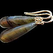 SOLD Gold Fire Labradorite-14k Solid Gold Minimalist Dangle Earrings