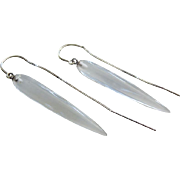 SALE Slender Crystal Quartz Tapers-14k White Gold Threader Dangle Earrings