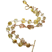 Exceptional Oregon Sunstone-Venus Hair Golden Rutilated Quartz-2 Strand Solid 14k Yellow Gold