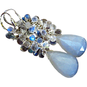 Moonlight AAA Rainbow Moonstone-White Chatoyant Moonstone-Cascade Long Dangle Sterling Silver