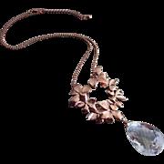 Petals-Large Natural Crystal Quartz-Rose Gold Plate-Nature Inspired Pendant-Adjustable Necklac
