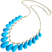 SOLD 52ct Genuine Sleeping Beauty Turquoise-14k Solid Gold Multi Charm Briolette Necklace