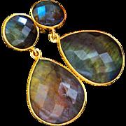 Flashy Labradorite-18k Gold Vermeil-Sterling Silver Post Dangle Earrings