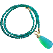 14k Gem Chrysoprase-Natural Green Onyx-14k Solid Gold Pendant Toggle Necklace
