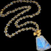 Rainbow Moonstone-18k Gold Vermeil-Floral Motif-21 Inch Blue Flash Pendant Necklace