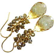 Lemon Quartz-Smoky Smokey Quartz Fringe Charm-Cascade Waterfall Briolette Dangle 14k Gold Fill