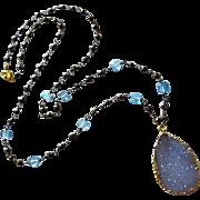 Exceptional Natural Blue Chalcedony Druzy-Blue Topaz-Pyrite-Oxidized Silver Drusy Pendant Neck