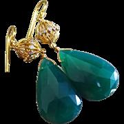 Emerald Green Onyx-CZ Embellished 18k Gold Vermeil Gold Fill Dangle Earrings